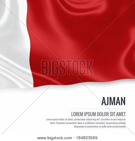 The United Arab Emirates state Ajman flag waving on an isolated white background. State name and the text area for your message. 3D illustration.