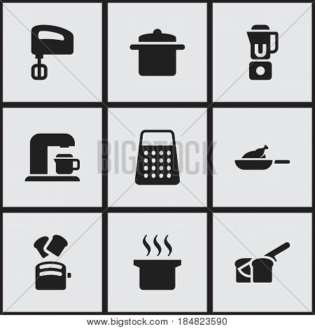 Set Of 9 Editable Cooking Icons. Includes Symbols Such As Drink Maker, Agitator , Hand Mixer. Can Be Used For Web, Mobile, UI And Infographic Design.