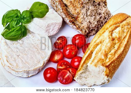 Food Ingredients - Cheese, Bread, Tomatos