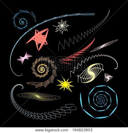 Graphical abstract a set of glowing swirls and stars on a black background