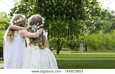 Two girls on the walk - First Communion