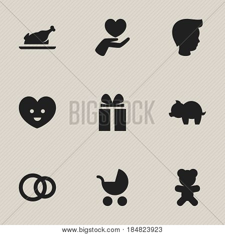 Set Of 9 Editable Family Icons. Includes Symbols Such As Heart, Perambulator, Gift And More. Can Be Used For Web, Mobile, UI And Infographic Design.