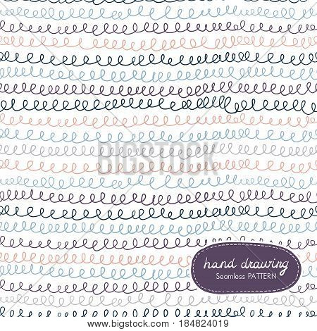 Hand Drawing Seamless Pattern with Scribble. Vector illustration