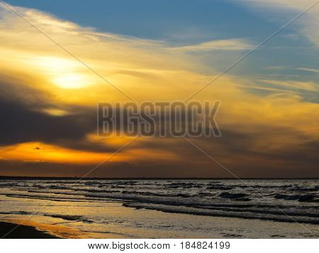 Sunset on the shore of the Gulf of Riga in Jurmala.