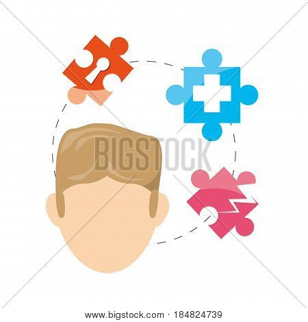 man and puzzle around and symbols inside, vector illustration