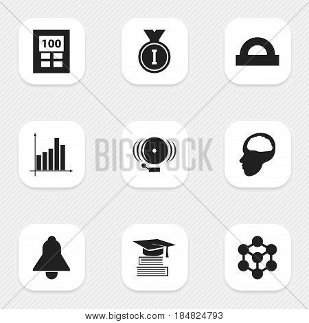 Set Of 9 Editable Science Icons. Includes Symbols Such As Calculator, Molecule, Graph And More. Can Be Used For Web, Mobile, UI And Infographic Design.