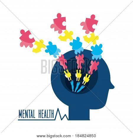 man silhouette with puzzle mental game, vector illustration