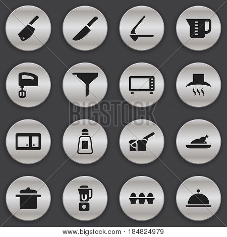 Set Of 16 Editable Cook Icons. Includes Symbols Such As Crusher, Filtering, Oven And More. Can Be Used For Web, Mobile, UI And Infographic Design.