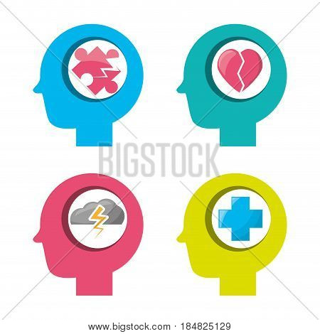 humans silhouette with healthy brains symbols, vector illustration