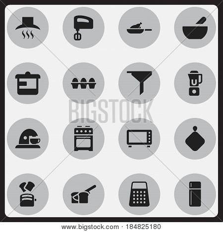 Set Of 16 Editable Food Icons. Includes Symbols Such As Agitator, Grill, Pot-Holder And More. Can Be Used For Web, Mobile, UI And Infographic Design.