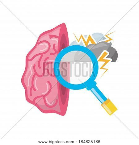 open brain with cloud thunder and magnifying glass, vector illustration