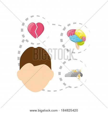 man with heart, brain, cloud thunder icons around, vector illustration