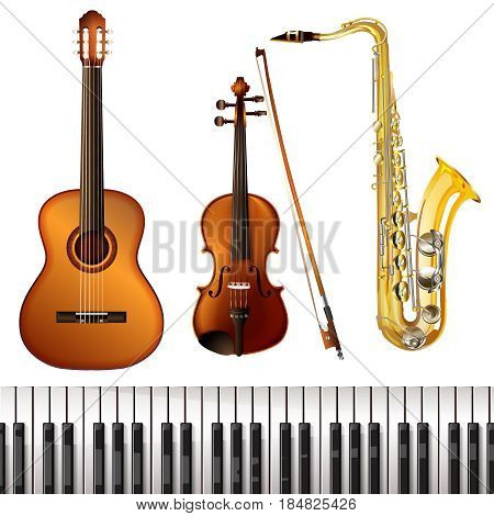 Realistic musical instruments collection of acoustic guitar piano saxophone and wooden violin with fiddlestick isolated vector illustration