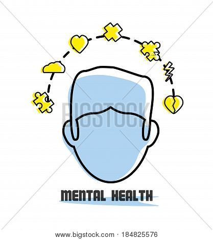 man with healthy mentality icons around, vector illustration