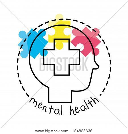 human silhouette with coss brain puzzle, vector illustration