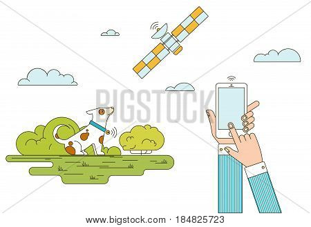 Colorful GPS animals monitoring concept with hands holding mobile satellite and dog in collar isolated vector illustration