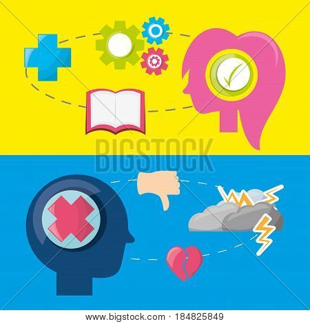 people silhouette with different mentality brain, vector illustration,