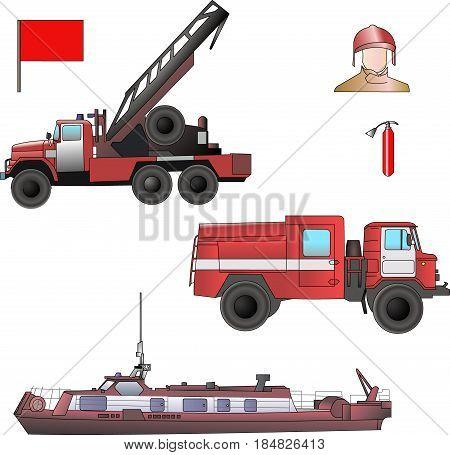 Fire fighting equipment. Truck, crane, fire boat