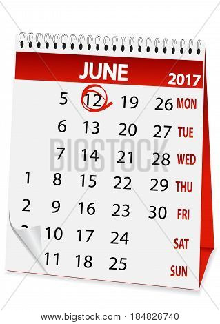 icon in the form of a calendar for June 12 Russia day