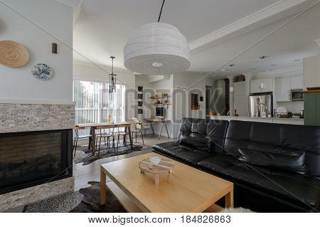 Luxury bright rustic living room. Interior design.