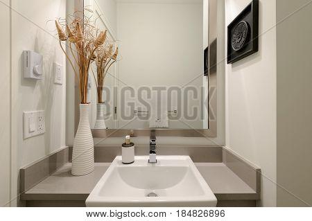 Modern clean bright white bathroom. Interior design.