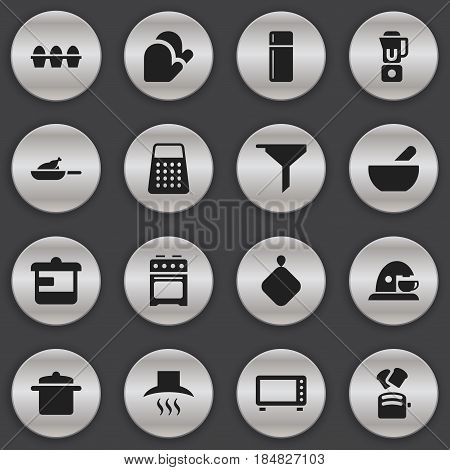 Set Of 16 Editable Cooking Icons. Includes Symbols Such As Kitchen Hood, Slice Bread, Utensil And More. Can Be Used For Web, Mobile, UI And Infographic Design.