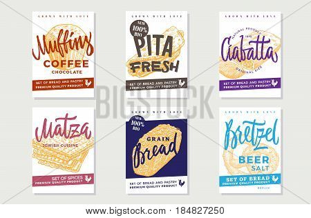 Hand drawn fresh bread posters with inscriptions and organic bakery and pastry products vector illustration