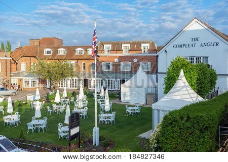 Marlow, UK. 29th April 2017. The Compleat Angler hotel and restaurant occupies a stunning River Thames riverside location in the affluent town of Marlow in Buckingshamshire.