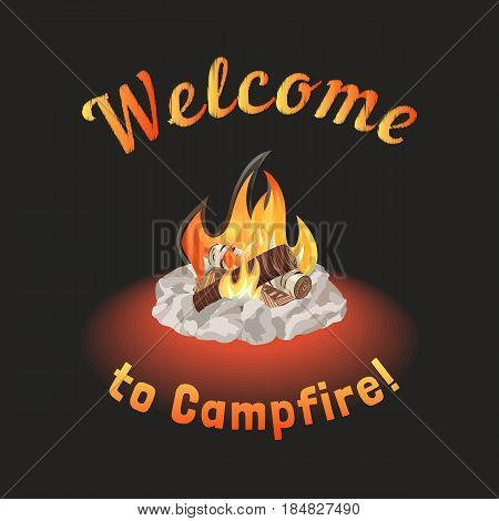 Campfire icon. Freehand drawn cartoon style. Fancy letters of welcome invitation. Base camp fire rocks ring. Wood logs burning in flame. Outdoor Campsite sign. Camping advertising banner background