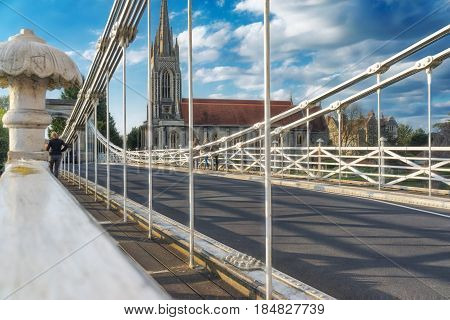 Marlow suspension bridge, built by William Tierney Clark in the mid-19th century was seen as a prototype for the much larger Budapest Chain Bridge, also built by Tierney-Clark.
