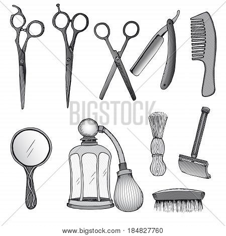 Vintage hairdresser tools set with scissors razor blade comb mirror sprayer brushes in sketch style isolated vector illustration