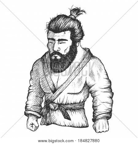 Japan fighter of judo or Jiu-Jitsu, sambo and other martial arts.Hand drawn sketch vector illustration.Bearded athlete