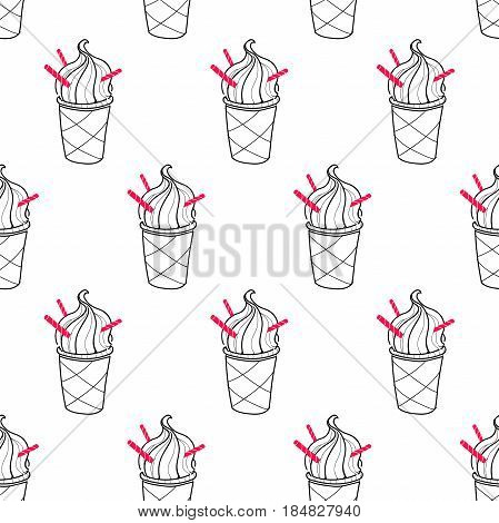 Seamless doodle ice cream cup pattern, hand-drawn monochrome background, ice-cream vector, ice cream background, EPS 8