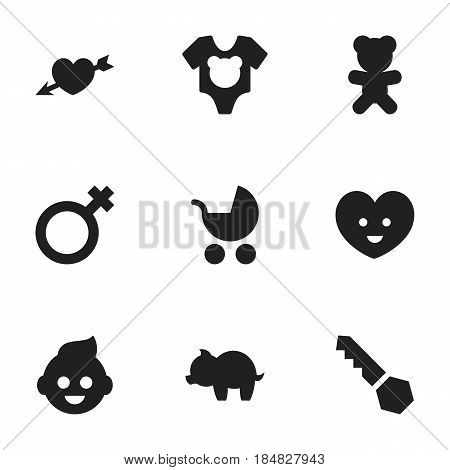 Set Of 9 Editable Relatives Icons. Includes Symbols Such As Moneybox, Soul, Perambulator And More. Can Be Used For Web, Mobile, UI And Infographic Design.
