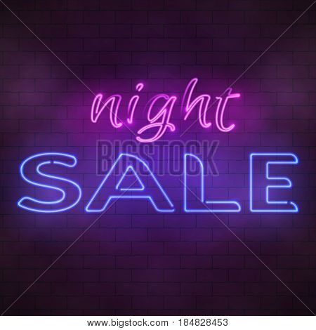 Glowing Neon Night Sale Sign Illustration