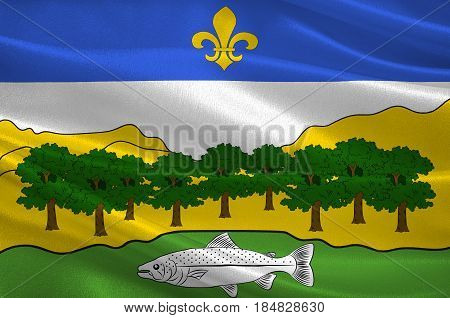 Flag of Nantua is a commune and subprefecture in the Ain department in eastern France. 3D illustration