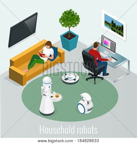 Isometric robots housework and technology concept. Woman with tablet and man with pc computer and robots at home.
