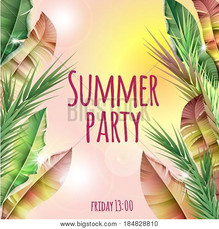 Light summer party tropical botanical template with realistic banana palm leaves on blurred background vector illustration