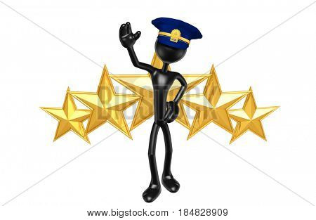 Police Officer With Stars The Original 3D Character Illustration