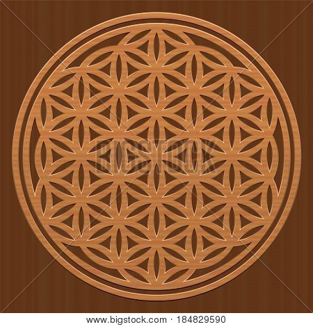Wooden Flower of Life - as a symbol for peaceful and healing nature or natural spirituality - vector illustration on wood textured background.
