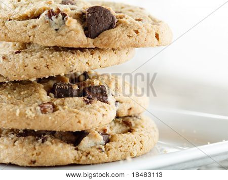 stacked chocolate chip cookies macro