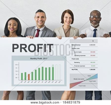 Business financial graph growing and gain profit
