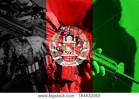 Soldier With Machine Gun With National Flag Of Afghanistan