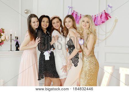 Team bride. Women celebrating bachelorette party