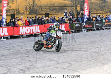 St. Petersburg Russia - 15 April, Drift on a motorcycle,15 April, 2017. International Motor Show IMIS-2017 in Expoforurum. Sports motorcycle show of bikers on the open area.