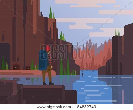 Outdoor activity on mountain landscape and lake. High green mountains landscape with blue sky. Spectacular view for poster or web banner. Modern flat realistic design. Vector illustration art.