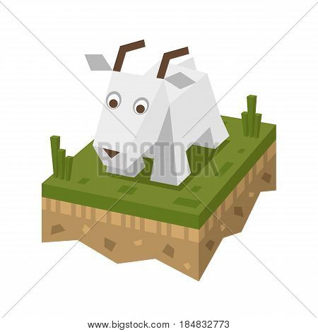 Isometric flat white goat on the tile of ground with grass. Geometric farm animal in isometry.  Goat on 3d land or soil tile.