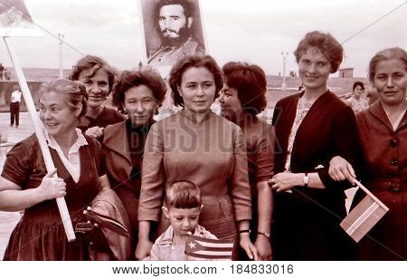 Residents came to greet Fidel in Yangiyer Uzbekistan May 11 1963