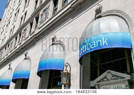 New York April 28 2017: Awnings carrying Citibank corporate colors and signage at one of their retail locations in Manhattan.