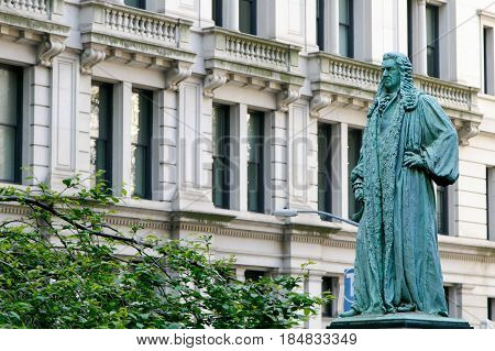 New York April 28 2017: Sculpture of John Watts on the Trinity Church's cemetery in Manhattan.